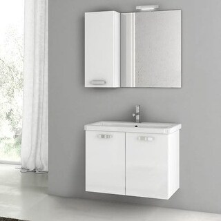 "Nameeks CP69 ACF 30"" Wall Mounted Vanity Set with Wood Cabinet, Ceramic Top with 1 Sink and 1 Mirror"