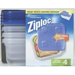 Ziploc 70935 Snap 'N Seal Square Food Storage Container, 24 Oz, 4/Pk