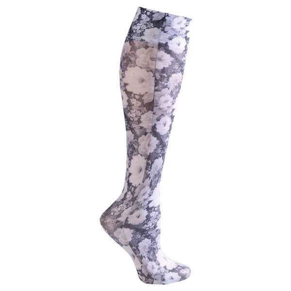 Celeste Stein Moderate Compression Knee High Stockings Wide Calf-Purple Floral - Medium