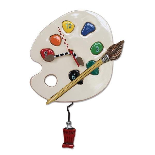 Allen Designs Art Time Painter's Color Palette Pendulum Wall Clock - 13 X 8.5 X 2.5 inches