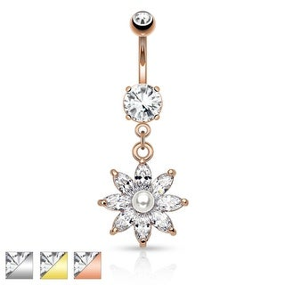 Pearl with Marquise CZ Flower Petals Dangle Navel Ring