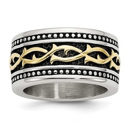 Chisel Stainless Steel Antiqued and Yellow IP-plated 13.25mm Ring