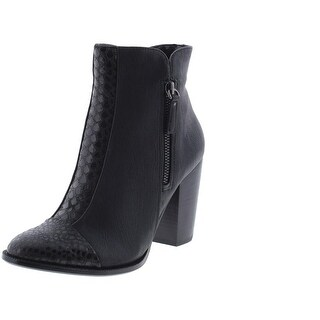 Nina Womens Clip Ankle Boots Leather Embossed