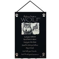 """Black """"Advice from A Wolf"""" Wall Art Hanging Tapestry 17"""" x 26"""""""