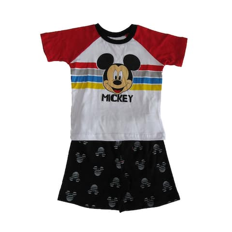 Disney White Red Black Mickey Mouse Short Sleeve Outfit Little Boys