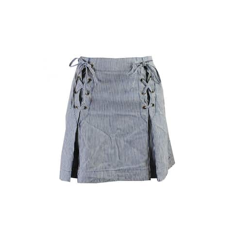 Free People Blue Striped Tie-Front Mini Skirt 0