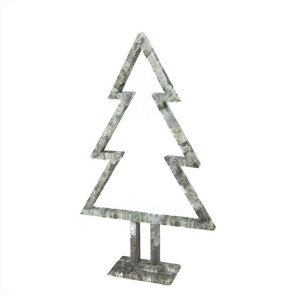 """22"""" Country Cabin White Birch Tree Silhouette Christmas Table Top Decoration"""