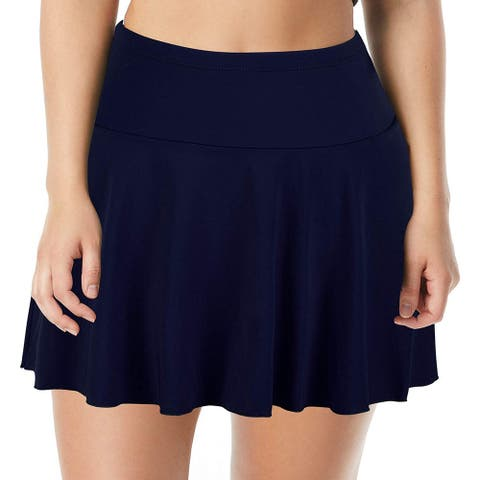 Septangle Women's Mid Waist Swim Skirt Tummy Control, Navy Blue, Size 16.0 - 16