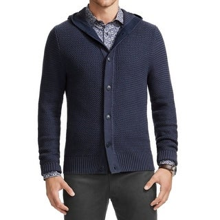 Vince Camuto NEW Blue Navy Mens Size Large L Hooded Cardigan Sweater