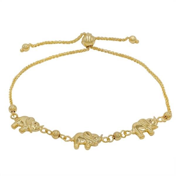 Amanda Rose Elephant Bolo Bracelet in 14k Yellow Gold (Adjustable)
