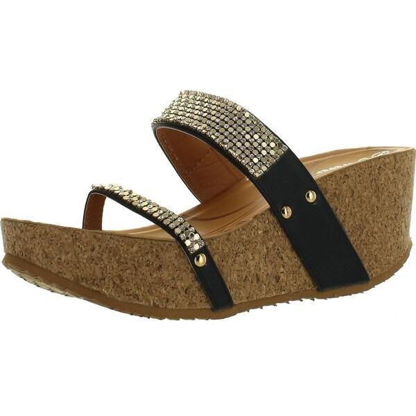 Forever Freya-16 Womens Slip On Thong Wedge Platform Heels