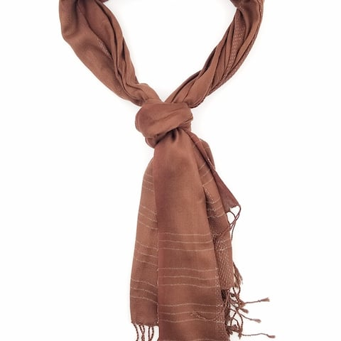 Women Soft Casual Solid Color Scarf With Lurex Lining With Tassels On Two Sides Soft & Lightweight Scarves - 6 Colors