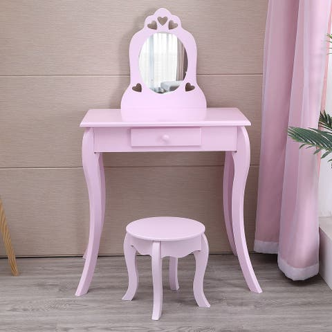 Princess Kids Vanity Set Dressing Table With Stool