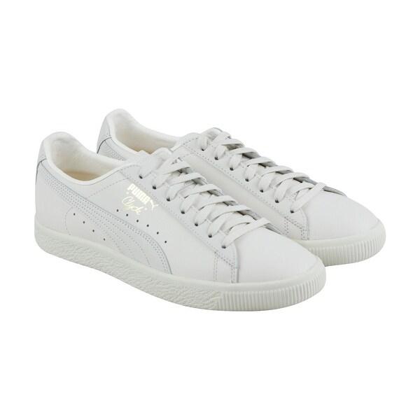 Shop Puma Clyde Natural Mens White Leather Lace Up Sneakers Shoes ... c4fe9d0ec
