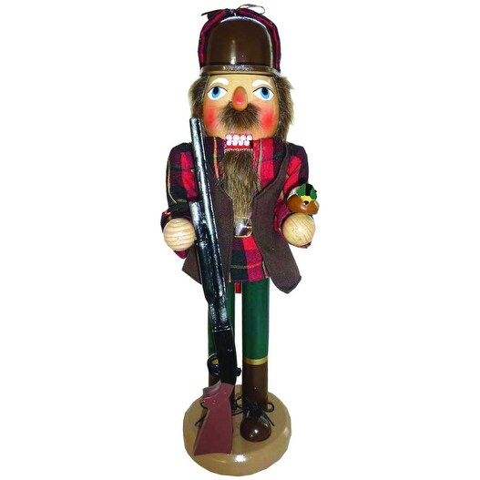 """14"""" Outdoorsman Duck Hunter Wooden Christmas Nutcracker with Duck and Rifle"""