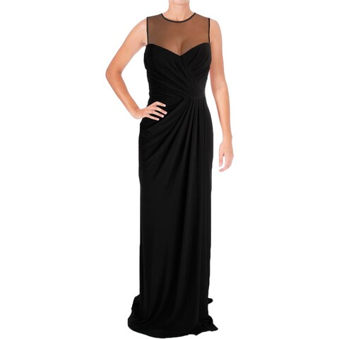 Vera Wang Womens Evening Dress Illusion Draped