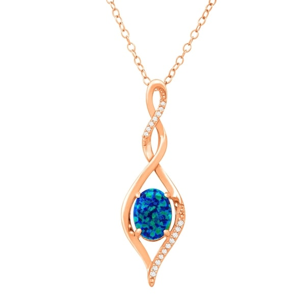 1/2 ct Created Blue Opal Twist Pendant with Diamonds in 18K Rose Gold-Plated Sterling Silver