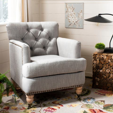 "Safavieh Manchester Light Grey Tufted Club Chair - 28"" x 34.4"" x 32.7"""