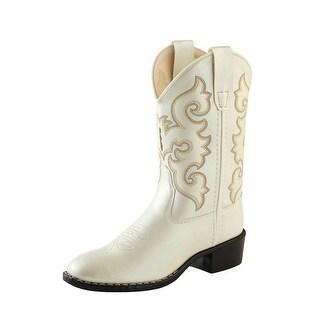 Old West Cowboy Boots Girls Kids Round Toe Stitching White VR9124