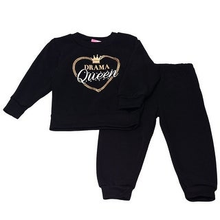 """Girls Pink Little Girls Black """"Drama Queen"""" Heart Detail 2 Pc Pant Outfit"""