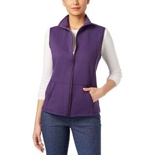 Karen Scott Womens Casual Vest Textured Quilted
