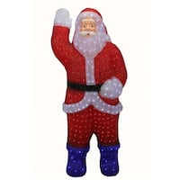 3' Lighted Commercial Grade Acrylic Santa Claus Christmas Display Decoration - RED