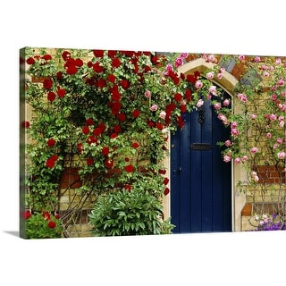 """""""Cottage housefront with roses"""" Canvas Wall Art"""