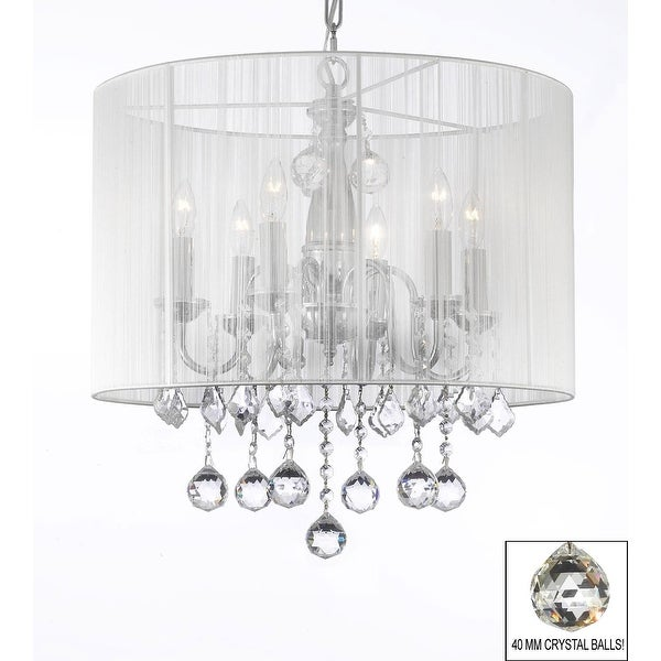 Crystal Chandelier Lighting With Large White Shade & 40 mm Crystal Balls H19 5 x W18 5