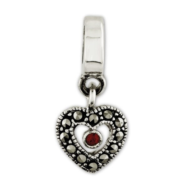 Sterling Silver Reflections Marcasite Heart Dangle Bead (4mm Diameter Hole)