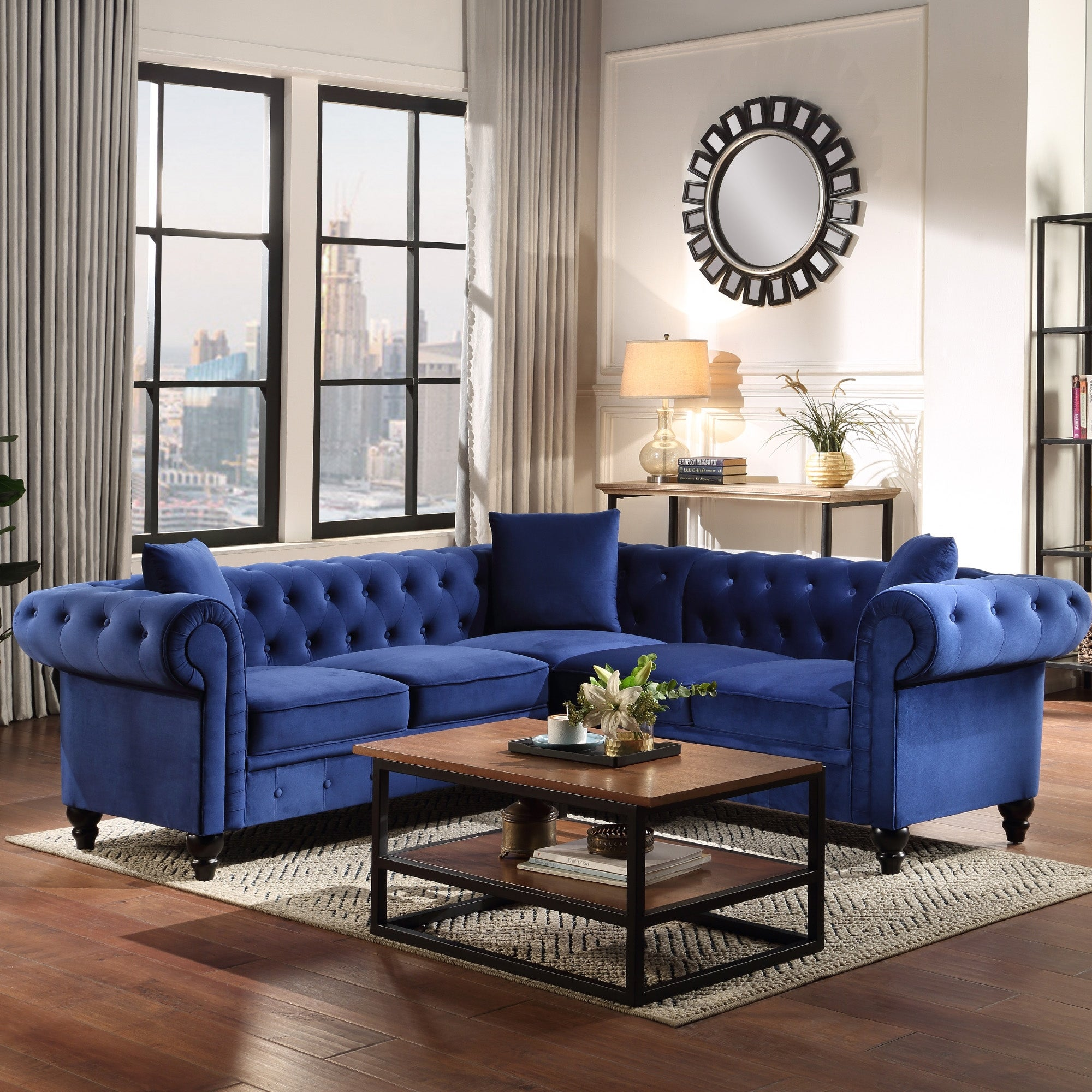 Shop Tufted Velvet Upholstered Rolled Arm Classic Chesterfield Sectional Sofa With 3 Pillows Overstock 32321857 Blue