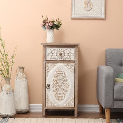 Floral Carved Wood 1-Door Accent Table