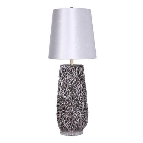 """Ceramic 37"""" Coral Look Table Lamp, Cream"""