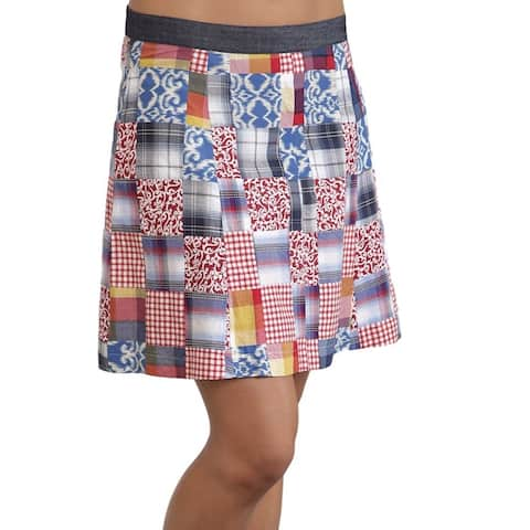 Stetson Western Skirt Womens Patchwork Flare Blue - Multi-Color