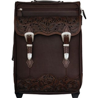 3D Western Luggage Carry On Floral Chocolate Brown ODL24