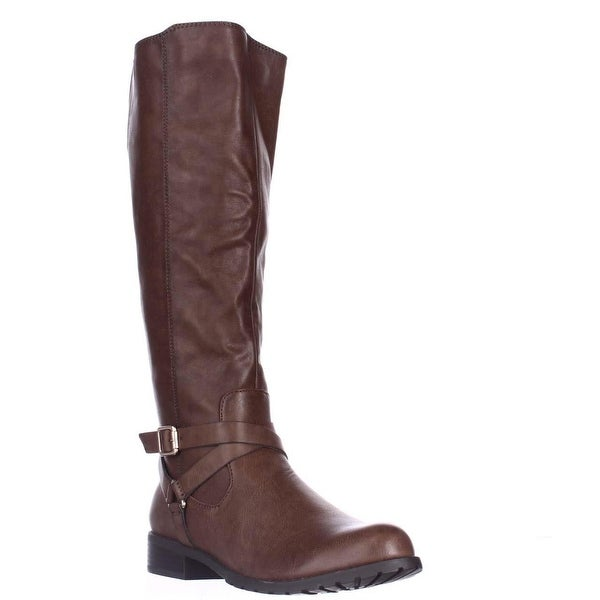 SC35 Brigyte Flat Riding Boots, Brown - 5.5 us