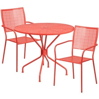 Westbury 3pcs Round 35.25'' Coral Steel Table w/2 Square Back Chairs