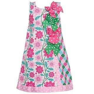 Bonnie Jean Little Girls Pink Floral Quatrefoil Bow Accented Dress