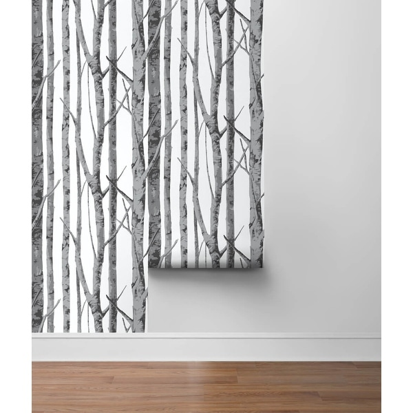 NextWall Birch Trees Peel and Stick Removable Wallpaper - 20.5 in. W x 18 ft. L