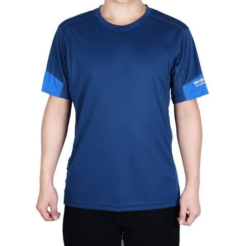 Men Polyester Short Sleeve Clothes Casual Wear Tee Sports T-shirt Navy Blue XL
