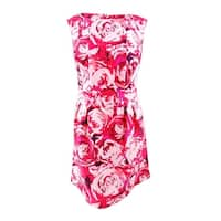Taylor Women's Plus Size Rose Print Fit & Flare Dress - Fuchsia/Pink