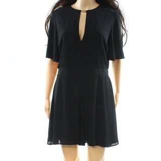 Miss Selfridge NEW Black Womens Size 10 Keyhole Split-Sleeve Romper