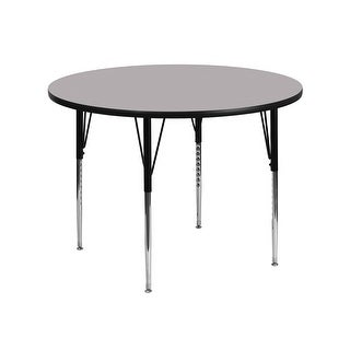 Offex 42'' Round Activity Table with Grey Thermal Fused Laminate Top and Standard Height Adjustable Legs