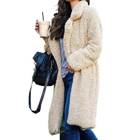 Womens Coat Fleece Fuzzy Winter Open Front Cardigan Sherpa Jacket Outerwear