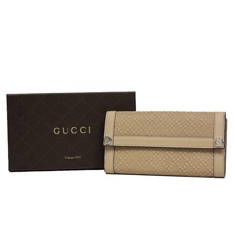 a5e6deef88f9 Gucci Women's Beige Diamante Leather Continental Flap Wallet 231839 9909 - One  Size