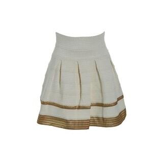 Alythea Womens Metallic Pleated A-Line Skirt