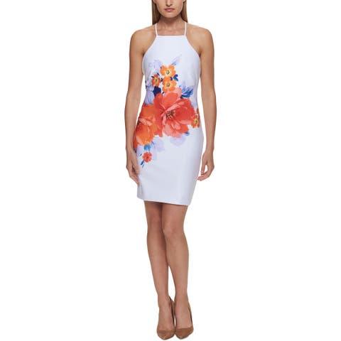 Guess Womens Scuba Dress Floral Print Sleeveless