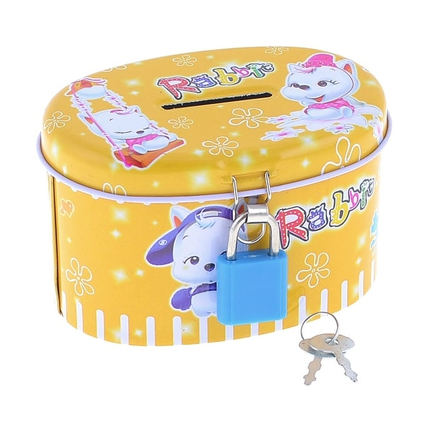 Cat Printed Cylindroid Design Coin Saving Money Piggy Bank Box Yellow