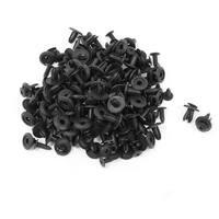 Unique Bargains 100 Pcs Vehicle Push Type Black Plastic Expanding Screw Rivets