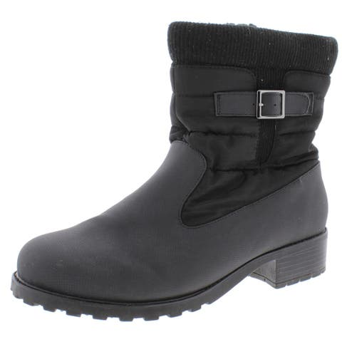 Trotters Womens Berry Mid Winter Boots Weatherproof Upper Faux Fur Lined - Black