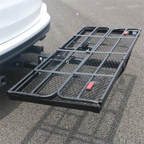 Foldable Hitch Cargo Carrier Mounted Basket Luggage Rack with Receiver